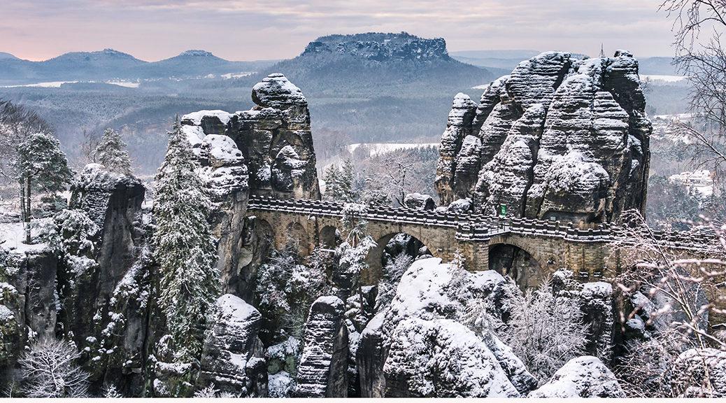 Bastei im Schnee - Kalender 2019 Januar - Sächsische Schweiz
