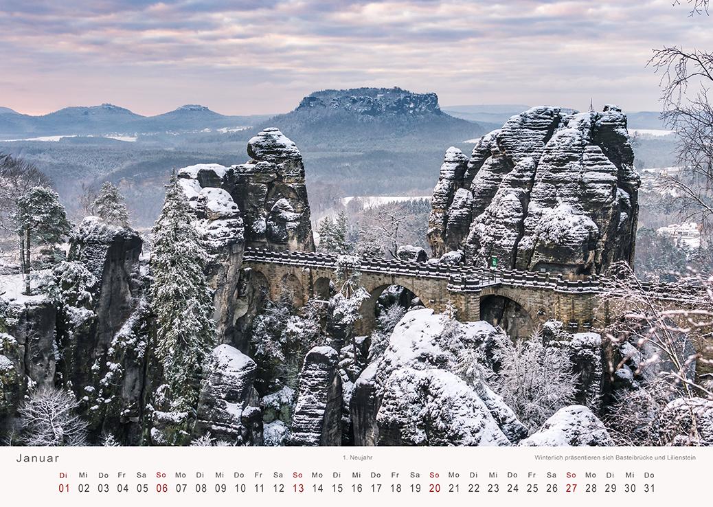 fotokalender elbsandsteingebirge winter an der bastei. Black Bedroom Furniture Sets. Home Design Ideas