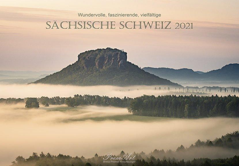 """Das Titelbild des Kalenders """"Wundervolle Sächsische Schweiz"""" 2021 zeigt den Lilienstein"""