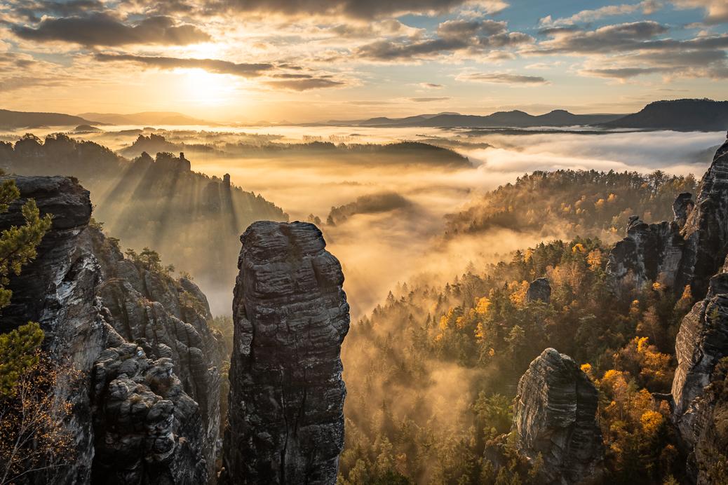 Fotografie Sächsische Schweiz Sonnenaufgang Höllenhund
